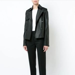 Vince Cropped Lamb Leather Trench Jacket Coat